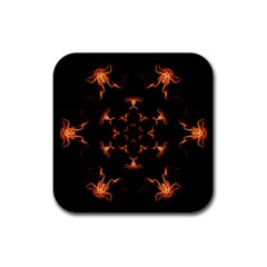 Mandala Fire Mandala Flames Design Rubber Square Coaster (4 Pack)