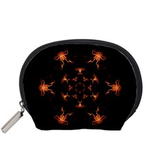 Mandala Fire Mandala Flames Design Accessory Pouches (small)  by Celenk