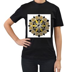 Mandala Yin Yang Live Flower Women s T Shirt (black) (two Sided) by Celenk