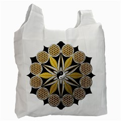 Mandala Yin Yang Live Flower Recycle Bag (two Side)  by Celenk