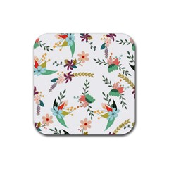 Floral Backdrop Pattern Flower Rubber Square Coaster (4 Pack)  by Celenk