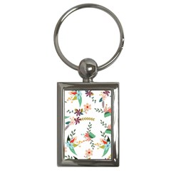 Floral Backdrop Pattern Flower Key Chains (rectangle)