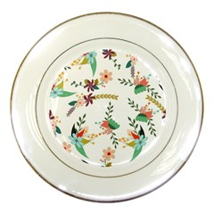 Floral Backdrop Pattern Flower Porcelain Plates