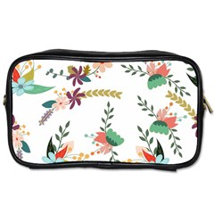 Floral Backdrop Pattern Flower Toiletries Bags 2 Side by Celenk
