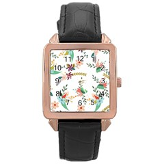Floral Backdrop Pattern Flower Rose Gold Leather Watch