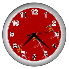 Red Background Paper Plants Wall Clocks (silver)