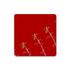 Red Background Paper Plants Square Magnet