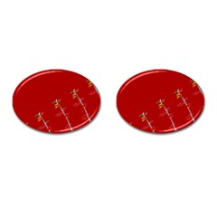 Red Background Paper Plants Cufflinks (oval) by Celenk