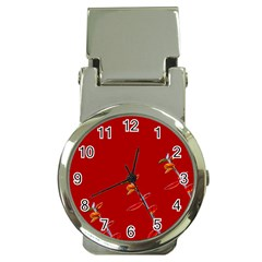 Red Background Paper Plants Money Clip Watches