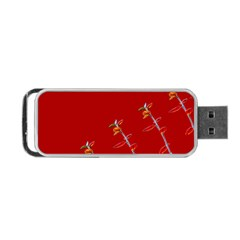 Red Background Paper Plants Portable Usb Flash (two Sides) by Celenk