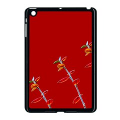 Red Background Paper Plants Apple Ipad Mini Case (black)