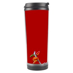 Red Background Paper Plants Travel Tumbler by Celenk