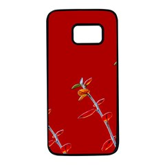 Red Background Paper Plants Samsung Galaxy S7 Black Seamless Case