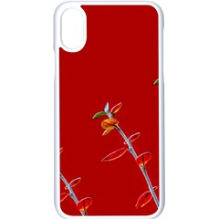 Red Background Paper Plants Apple Iphone X Seamless Case (white)