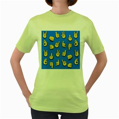 Emojis Hands Fingers Background Women s Green T Shirt