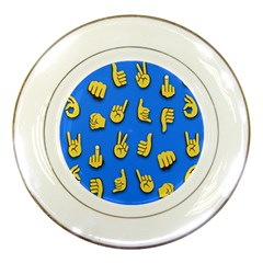 Emojis Hands Fingers Background Porcelain Plates