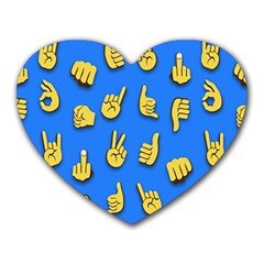 Emojis Hands Fingers Background Heart Mousepads by Celenk