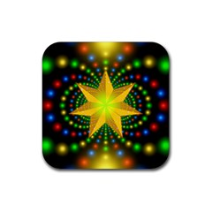 Christmas Star Fractal Symmetry Rubber Coaster (square)  by Celenk