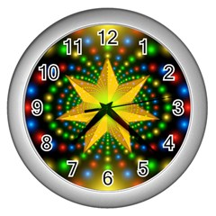 Christmas Star Fractal Symmetry Wall Clocks (silver)  by Celenk