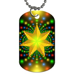 Christmas Star Fractal Symmetry Dog Tag (one Side) by Celenk