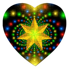 Christmas Star Fractal Symmetry Jigsaw Puzzle (heart) by Celenk