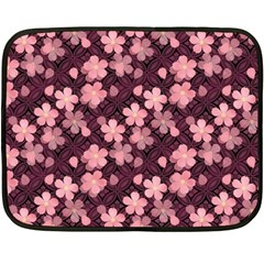 Cherry Blossoms Japanese Style Pink Double Sided Fleece Blanket (mini)