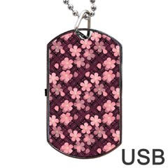 Cherry Blossoms Japanese Style Pink Dog Tag Usb Flash (two Sides) by Celenk
