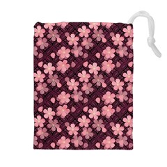 Cherry Blossoms Japanese Style Pink Drawstring Pouches (extra Large) by Celenk