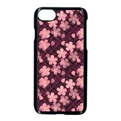 Cherry Blossoms Japanese Style Pink Apple Iphone 7 Seamless Case (black)