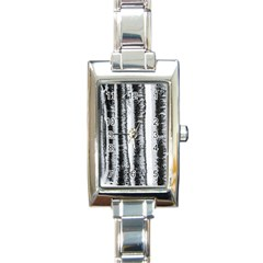 Row Trees Nature Birch Rectangle Italian Charm Watch by Celenk