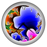 Fractal Background Pattern Color Wall Clocks (Silver)  Front