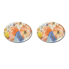 Texture Fabric Textile Detail Cufflinks (oval)