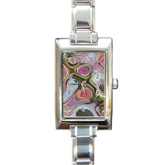 Retro Background Colorful Hippie Rectangle Italian Charm Watch by Celenk