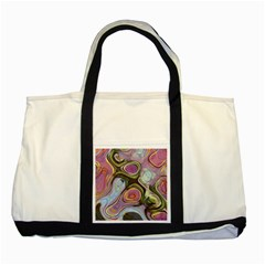 Retro Background Colorful Hippie Two Tone Tote Bag