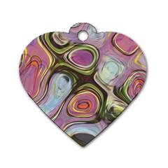 Retro Background Colorful Hippie Dog Tag Heart (one Side) by Celenk