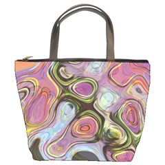 Retro Background Colorful Hippie Bucket Bags by Celenk