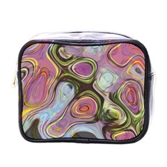 Retro Background Colorful Hippie Mini Toiletries Bags by Celenk