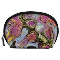 Retro Background Colorful Hippie Accessory Pouches (large)  by Celenk