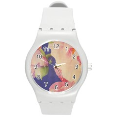 Fabric Textile Abstract Pattern Round Plastic Sport Watch (m) by Celenk