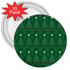 Christmas Tree Holiday Star 3  Buttons (10 Pack)