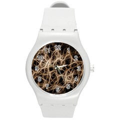 Structure Background Pattern Round Plastic Sport Watch (m)