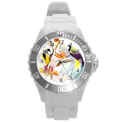 Birds Of Paradise Round Plastic Sport Watch (l) by TKKdesignsCo
