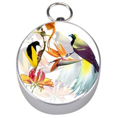 Birds Of Paradise Silver Compasses by TKKdesignsCo