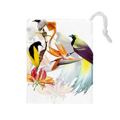 Birds Of Paradise Drawstring Pouches (large)  by TKKdesignsCo