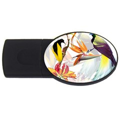 Exotic Birds Of Paradise And Flowers Watercolor Usb Flash Drive Oval (2 Gb) by TKKdesignsCo