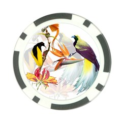 Exotic Birds Of Paradise And Flowers Watercolor Poker Chip Card Guard by TKKdesignsCo
