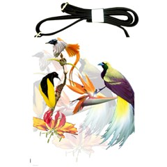 Exotic Birds Of Paradise And Flowers Watercolor Shoulder Sling Bags by TKKdesignsCo