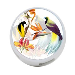 Exotic Birds Of Paradise And Flowers Watercolor 4 Port Usb Hub (one Side) by TKKdesignsCo