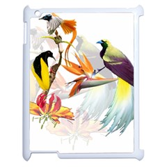 Exotic Birds Of Paradise And Flowers Watercolor Apple Ipad 2 Case (white) by TKKdesignsCo