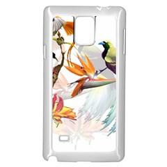 Exotic Birds Of Paradise And Flowers Watercolor Samsung Galaxy Note 4 Case (white) by TKKdesignsCo